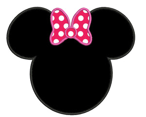 Minnie's head inspired applique embroidery machine file 3 sizes instant download multiple file formats