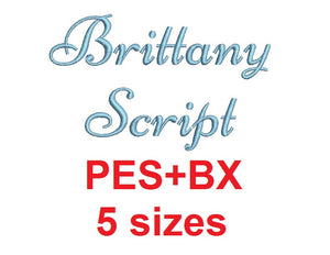 Brittany Script embroidery font formats bx (which converts to 17 machine formats), + pes, Sizes 0.25 (1/4), 0.50 (1/2), 1, 1.5 and 2""