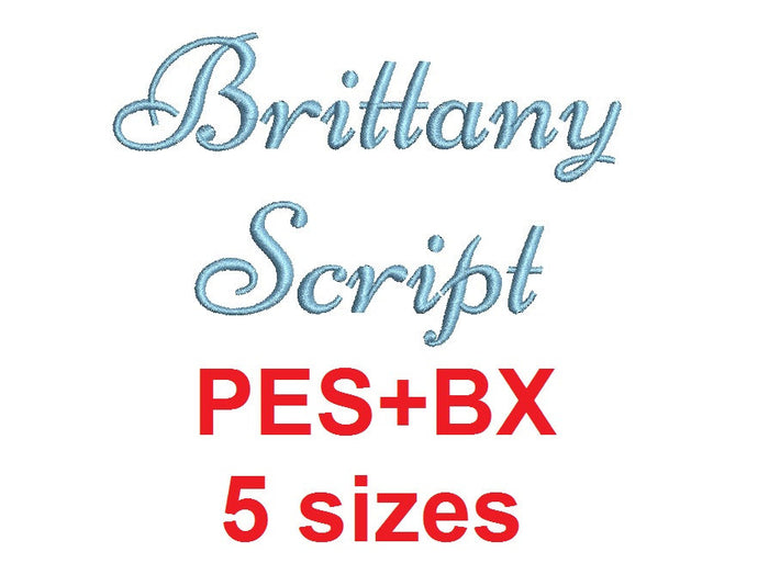 Brittany Script embroidery font formats bx (which converts to 17 machine formats), + pes, Sizes 0.25 (1/4), 0.50 (1/2), 1, 1.5 and 2