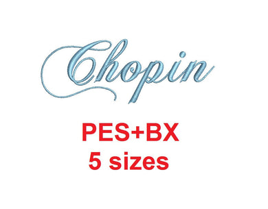 Chopin Script embroidery font formats bx (which converts to 17 machine formats), + pes, Sizes 0.25 (1/4), 0.50 (1/2), 1, 1.5 and 2