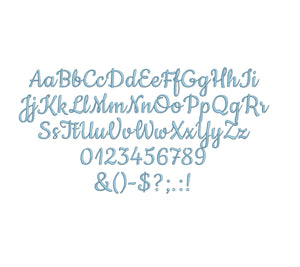 Double Dutch Script embroidery font formats bx (which converts to 17 machine formats), + pes, Sizes 0.25 (1/4), 0.50 (1/2), 1, 1.5 and 2""