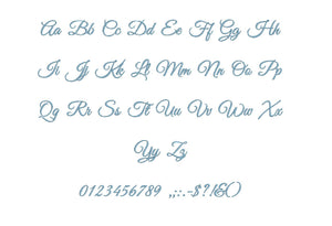 Elegant Script embroidery font formats bx (which converts to 17 machine formats), + pes, Sizes 0.25 (1/4), 0.50 (1/2), 1, 1.5 and 2""