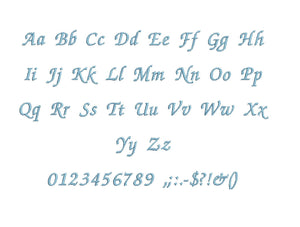Chancery embroidery font formats bx (which converts to 17 machine formats), + pes, Sizes 0.25 (1/4), 0.50 (1/2), 1, 1.5 and 2""