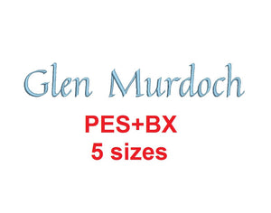 Glen Murdoch Script embroidery font formats bx (which converts to 17 machine formats), + pes, Sizes 0.25 (1/4), 0.50 (1/2), 1, 1.5 and 2""