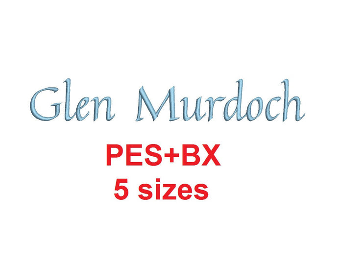 Glen Murdoch Script embroidery font formats bx (which converts to 17 machine formats), + pes, Sizes 0.25 (1/4), 0.50 (1/2), 1, 1.5 and 2