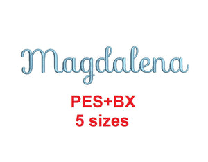 Magdalena Script embroidery font formats bx (which converts to 17 machine formats), + pes, Sizes 0.25 (1/4), 0.50 (1/2), 1, 1.5 and 2""