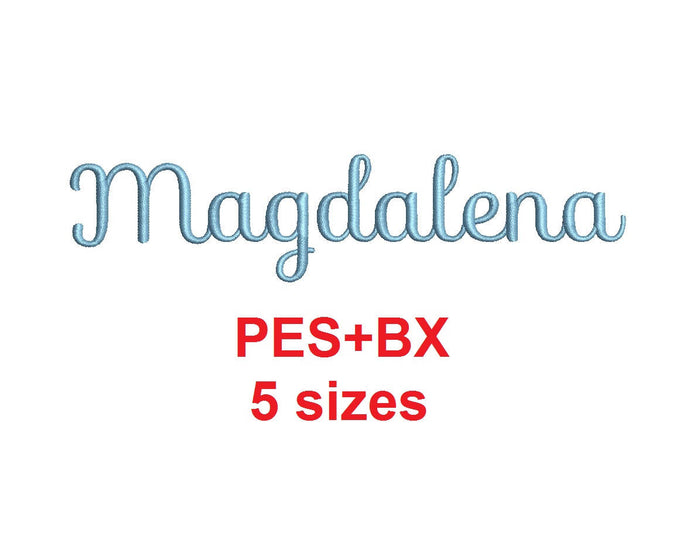 Magdalena Script embroidery font formats bx (which converts to 17 machine formats), + pes, Sizes 0.25 (1/4), 0.50 (1/2), 1, 1.5 and 2