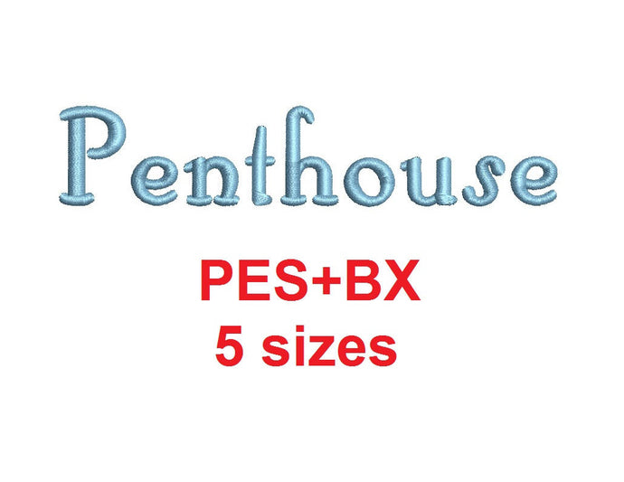 Penthouse Script embroidery font formats bx (which converts to 17 machine formats), + pes, Sizes 0.25 (1/4), 0.50 (1/2), 1, 1.5 and 2