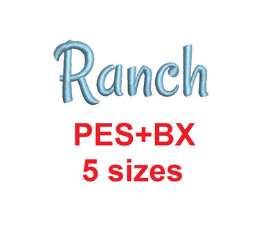 Ranch Script embroidery font formats bx (which converts to 17 machine formats), + pes, Sizes 0.25 (1/4), 0.50 (1/2), 1, 1.5 and 2