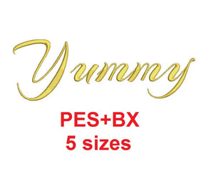 Yummy Script embroidery font formats bx (which converts to 17 machine formats), + pes, Sizes 0.25 (1/4), 0.50 (1/2), 1, 1.5 and 2""