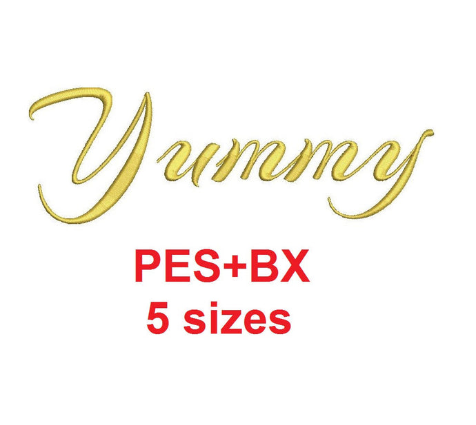Yummy Script embroidery font formats bx (which converts to 17 machine formats), + pes, Sizes 0.25 (1/4), 0.50 (1/2), 1, 1.5 and 2