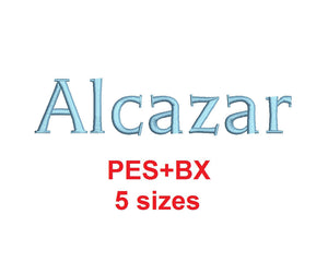 Alcazar embroidery font formats bx (which converts to 17 machine formats), + pes, Sizes 0.25 (1/4), 0.50 (1/2), 1, 1.5 and 2""