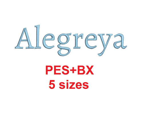Alegreya embroidery font formats bx (which converts to 17 machine formats), + pes, Sizes 0.25 (1/4), 0.50 (1/2), 1, 1.5 and 2