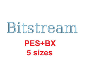 Bitstream embroidery font formats bx (which converts to 17 machine formats), + pes, Sizes 0.25 (1/4), 0.50 (1/2), 1, 1.5 and 2""
