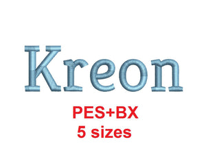 Kreon embroidery font formats bx (which converts to 17 machine formats), + pes, Sizes 0.25 (1/4), 0.50 (1/2), 1, 1.5 and 2""
