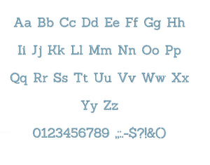 Sanchez embroidery font formats bx (which converts to 17 machine formats), + pes, Sizes 0.25 (1/4), 0.50 (1/2), 1, 1.5 and 2""