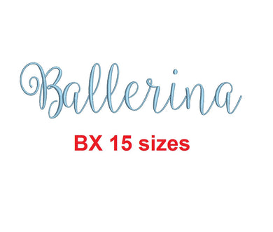 Ballerina Script embroidery BX font Sizes 0.25 (1/4), 0.50 (1/2), 1, 1.5, 2, 2.5, 3, 3.5, 4, 4.5, 5, 5.5, 6, 6.5, and 7 inches