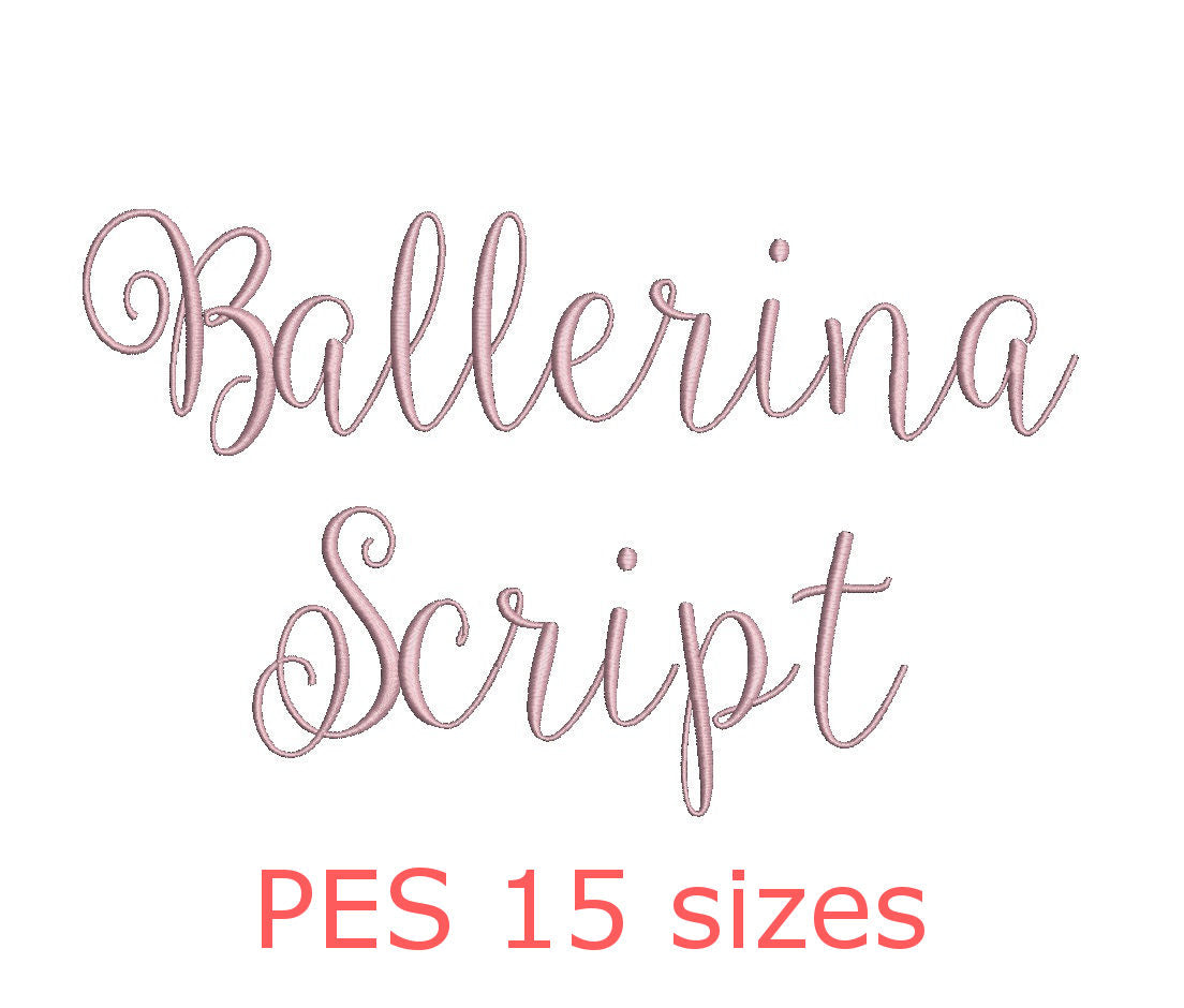 Ballerina Script Embroidery Font Pes Format 15 Sizes Instant