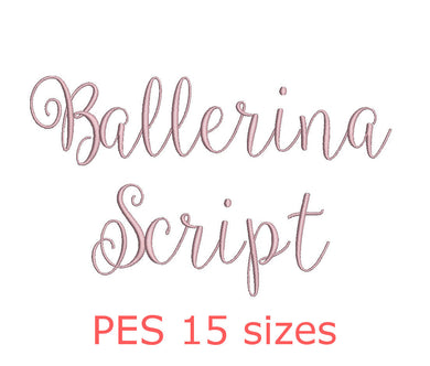 Ballerina Script embroidery font PES format 15 Sizes instant download