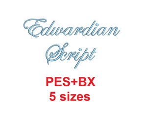 Edwardian embroidery font formats bx (which converts to 17 machine formats), + pes, Sizes 0.25 (1/4), 0.50 (1/2), 1, 1.5 and 2""