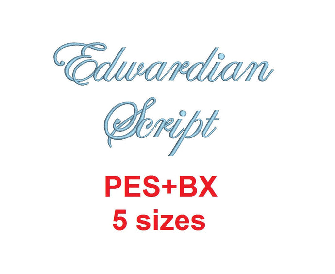 Edwardian embroidery font formats bx (which converts to 17 machine formats), + pes, Sizes 0.25 (1/4), 0.50 (1/2), 1, 1.5 and 2