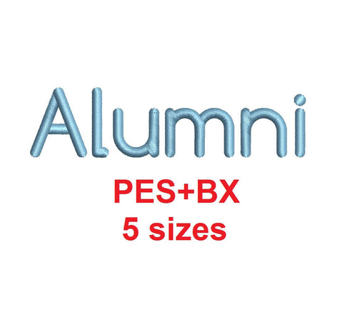 Alumni embroidery font formats bx (which converts to 17 machine formats), + pes, Sizes 0.25 (1/4), 0.50 (1/2), 1, 1.5 and 2