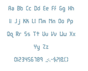LCD embroidery font formats bx (which converts to 17 machine formats), + pes, Sizes 0.25 (1/4), 0.50 (1/2), 1, 1.5 and 2""