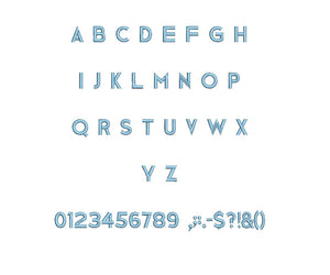 Medium Block embroidery font formats bx (which converts to 17 machine formats), + pes, Sizes 0.25 (1/4), 0.50 (1/2), 1, 1.5 and 2""