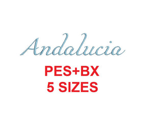 Andalucia Script embroidery font formats bx (which converts to 17 machine formats), + pes, Sizes 0.25 (1/4), 0.50 (1/2), 1, 1.5 and 2""