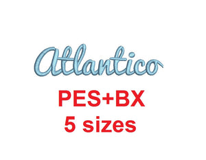 Atlantico Script embroidery font formats bx (which converts to 17 machine formats), + pes, Sizes 0.25 (1/4), 0.50 (1/2), 1, 1.5 and 2""