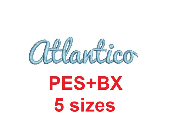 Atlantico Script embroidery font formats bx (which converts to 17 machine formats), + pes, Sizes 0.25 (1/4), 0.50 (1/2), 1, 1.5 and 2