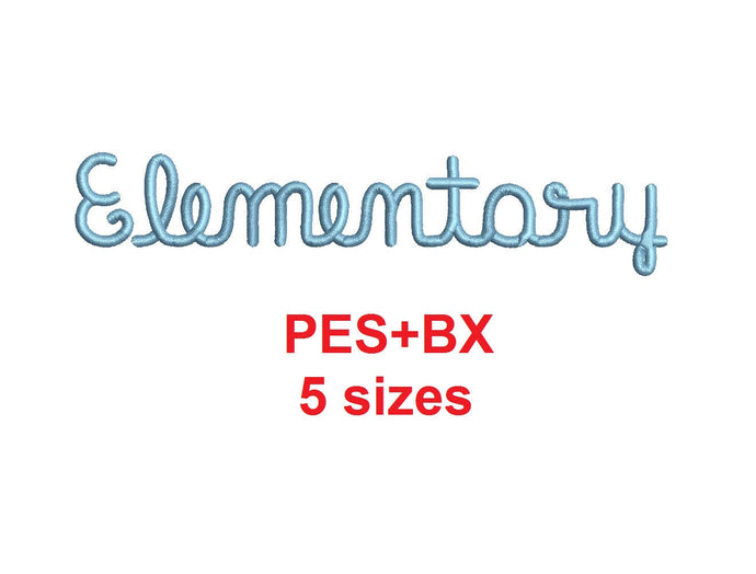 Elementary Script embroidery font formats bx (which converts to 17 machine formats), + pes, Sizes 0.25 (1/4), 0.50 (1/2), 1, 1.5 and 2