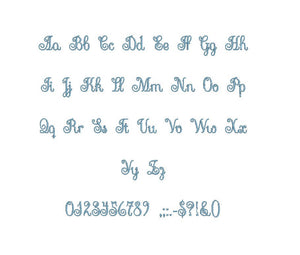 Flamenco Script embroidery font formats bx (which converts to 17 machine formats), + pes, Sizes 0.25 (1/4), 0.50 (1/2), 1, 1.5 and 2""