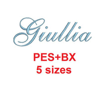 Giullia Script embroidery font formats bx (which converts to 17 machine formats), + pes, Sizes 0.25 (1/4), 0.50 (1/2), 1, 1.5 and 2""