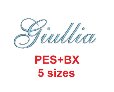 Giullia Script embroidery font formats bx (which converts to 17 machine formats), + pes, Sizes 0.25 (1/4), 0.50 (1/2), 1, 1.5 and 2