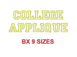 College Applique BX font Sizes  1, 1.5, 2, 2.5, 3, 3.5, 4, 4.5, and 5 inches