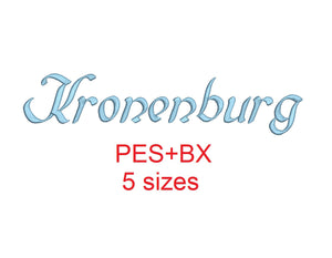 Kronenburg embroidery font formats bx (which converts to 17 machine formats), + pes, Sizes 0.50 (1/2), 0.75 (3/4), 1, 1.5 and 2""