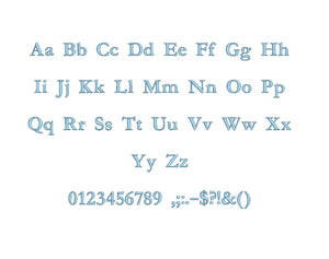 Garamond embroidery font formats bx (which converts to 17 machine formats), + pes, Sizes 0.25 (1/4), 0.50 (1/2), 1, 1.5 and 2""