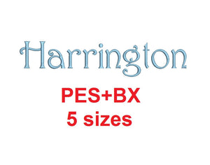 Harrington embroidery font formats bx (which converts to 17 machine formats), + pes, Sizes 0.25 (1/4), 0.50 (1/2), 1, 1.5 and 2""