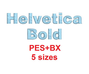 Helvetica Bold embroidery font formats bx (which converts to 17 machine formats), + pes, Sizes 0.25 (1/4), 0.50 (1/2), 1, 1.5 and 2""