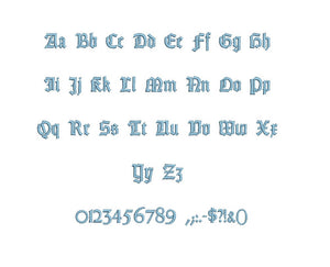 Gottin embroidery font formats bx (which converts to 17 machine formats), + pes, Sizes 0.50 (1/2), 0.75 (3/4), 1, 1.5 and 2""