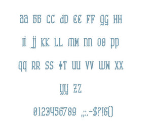 Nasenbluten embroidery font formats bx (which converts to 17 machine formats), + pes, Sizes 0.50 (1/2), 0.75 (3/4), 1, 1.5 and 2""
