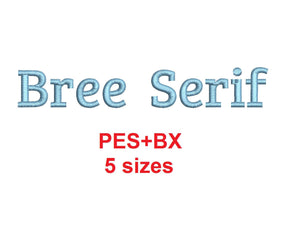 Bree Serif embroidery font formats bx (which converts to 17 machine formats), + pes, Sizes 0.25 (1/4), 0.50 (1/2), 1, 1.5 and 2""
