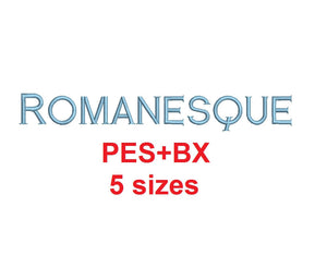 Romanesque embroidery font formats bx (which converts to 17 machine formats), + pes, Sizes 0.25 (1/4), 0.50 (1/2), 1, 1.5 and 2""