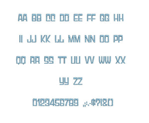 Anthology embroidery font formats bx (which converts to 17 machine formats), + pes, Sizes 0.50 (1/2), 0.75 (3/4), 1, 1.5 and 2""
