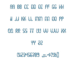 Barbadoo embroidery font formats bx (which converts to 17 machine formats), + pes, Sizes 0.50 (1/2), 0.75 (3/4), 1, 1.5 and 2""