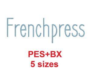 Frenchpress embroidery font formats bx (which converts to 17 machine formats), + pes, Sizes 0.25 (1/4), 0.50 (1/2), 1, 1.5 and 2""