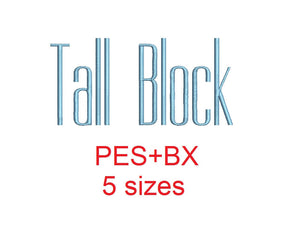 Tall Block embroidery font formats bx (which converts to 17 machine formats), + pes, Sizes 0.50 (1/2), 0.75 (3/4), 1, 1.5 and 2""