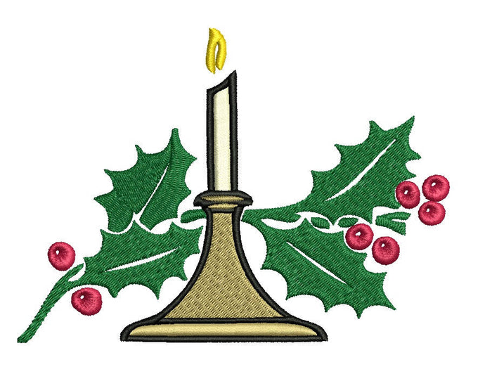 Christmas Candle embroidery design formats bx (17 machine formats), + pes, Sizes 3, 3.5, 3.8 (4x4 hoop), 4.5, 5, 5.5, and 6 inches