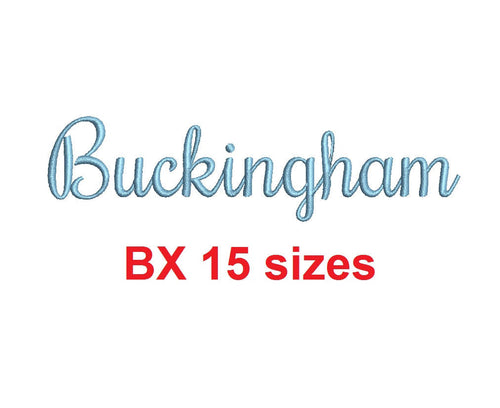 Buckingham embroidery BX font Sizes 0.25 (1/4), 0.50 (1/2), 1, 1.5, 2, 2.5, 3, 3.5, 4, 4.5, 5, 5.5, 6, 6.5, and 7 inches